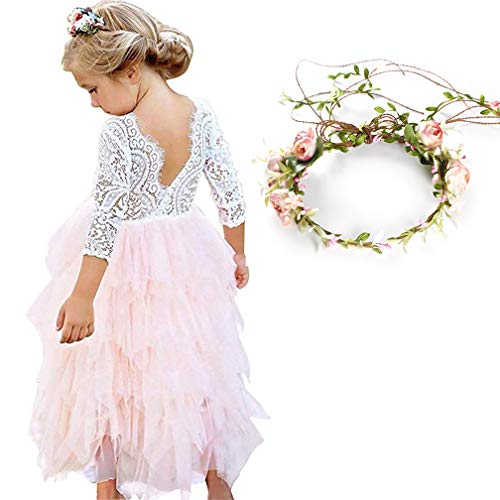 (MY-PRETTYGS Girl Long Sleeve Beaded Peony Lace Tutu Dress,Backless Design Flower Dress with Wreath Headband (Long Pink, 6T))