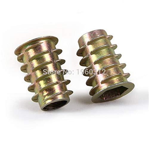 Ochoos 100pcs//lot M625 Furniture Hex Drive Head Nut Threaded for Wood Insert Zinc Alloy Plated Carbon Steel nut