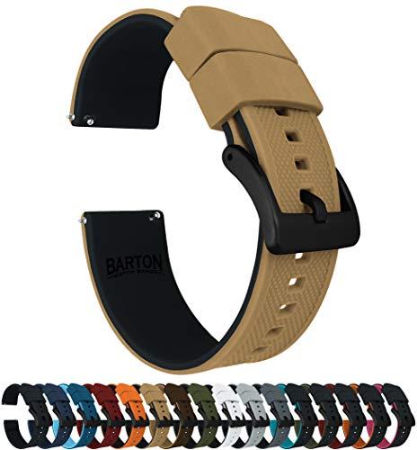 e Watch Bands - Black Buckle Quick Release - Choose Strap Color & Width - Khaki Tan/Black 20mm ()