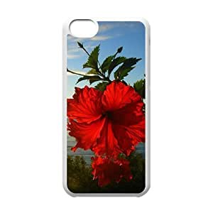 linJUN FENGRed Hawaii Flower DIY Cover Case for iphone 4/4s,personalized phone case ygtg606544