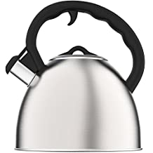 Vremi Whistling Tea Kettle - 2 Quart Stainless Steel Modern Dome Teapot for Kitchen Stove Top - Decorative 8 Cup Brushed Silver Tea Pot - Fast Boil Steam Whistle - Induction Gas or Electric Stovetop