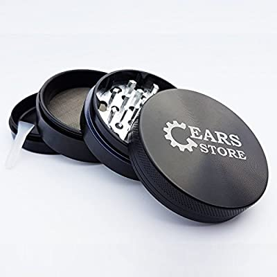 Gears Store - Best Spice Herb Grinder with Pollen Catcher - Large 2.5 Inch 4 Piece, Black Aluminum from Gears Store