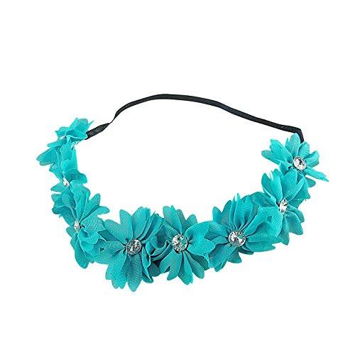 Teal Braided Chiffon Crystal Stone Floral Flower Crown Stretch Festival Headband (Crystal Laurel Wreath)