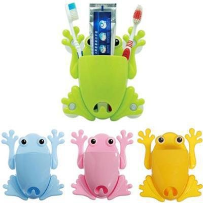 2015 New Convenient Cute Frog Toothbrush Tools Bathroom Wall Stick Paste Organizer Holder 4Color