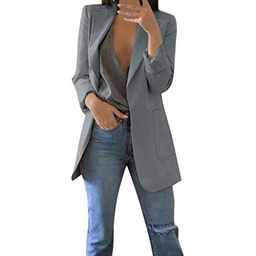(iFOMO Thin Blazer Women Summer OL Slim Fitted Blazer Boyfriend Blazer Grey XL)