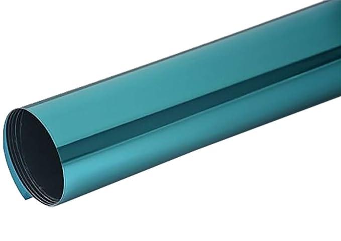 Neoxxim 16,45€/m² Fensterfolie - Meterware Spiegelfolie, Chrom Blau 100 cm x 152 cm - Rollenbreite 152cm Chrom Spiegel Folie