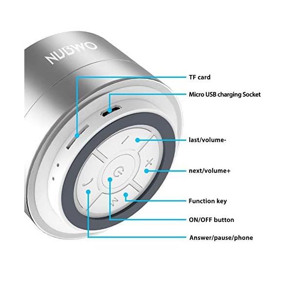 Enceinte Bluetooth, NUBWO A2 Enceinte Bluetooth Mini Portable de Voyage, Enceinte sans Fil avec des Basses Enforcées et des Appels en Mains Libres, Fonctionne avec iPhone, iPad, Samsung – Argent 2