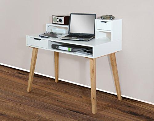 1194 - Schreibtisch Sekretär in verschiedenen Farben, mit massiven Füßen (weiß / eiche massiv)