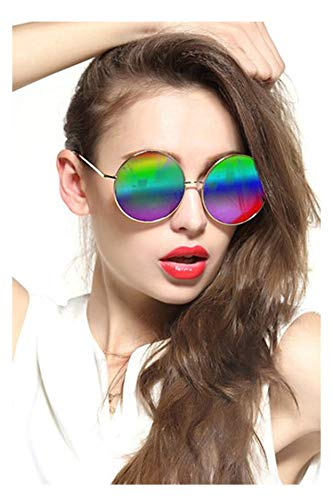 Gee-Look Oversized Round Circle Mirrored Hippie Hipster Sunglasses - Metal Frame (Multicoloured, as ()