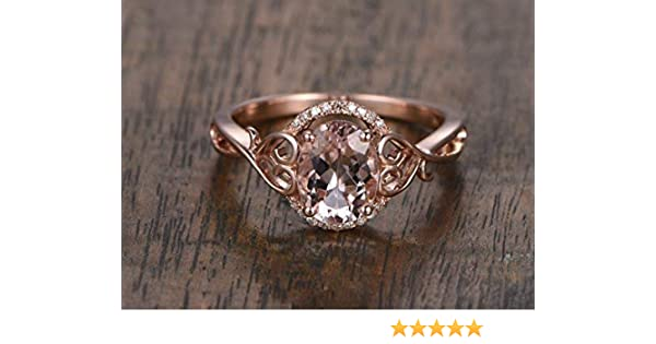 Antique Pink Morganite Engagement Ring Diamond Halo Solid 14k Rose Gold  Vintage Unique 6x8mm Oval Cut Wedding Rings Retro Women Promise Anniversary