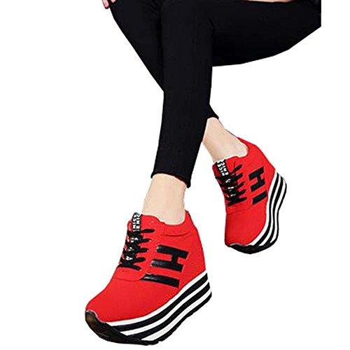Angelliu Donna Casual Canvas Primavera Autunno Sneakers Piattaforma Elevatori Rosso