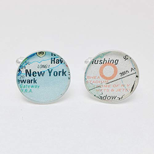Shea Stadium Mets and Jets Vintage Street Map Cufflinks, Brother Gift, Boyfriend Gift, Teen Boy Gift