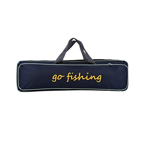 Telescoping Rod Case - eecoo Fishing Rod Bag, Portable 2 Layer Folding Fishing Rod Case Fishing Gear Organizer with Adjustable Strap, Fishing Rod Case Carrier Bag Tackle Bag Outdoor Fishing Storage Bag Handbag