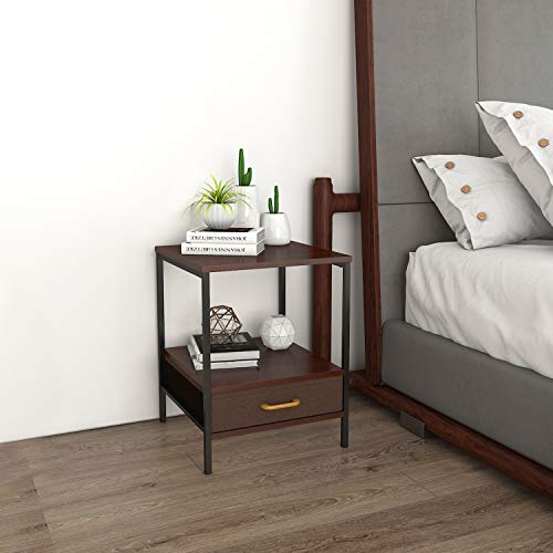 Lifewit Small Nightstand Bedside Table End Table with Fabric Drawer for Bedroom, Side Table Sofa Table, Modern Design, Easy Assembly and Sturdy, Brown, 15.7 × 15.7 × 20 in