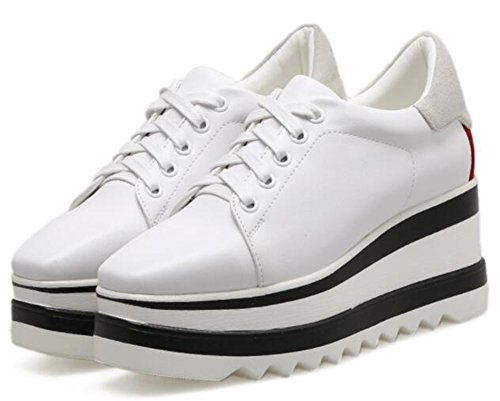 Idifu Womens Casual Mid Zeppa Scarpe Basse Sneakers Con Plateau Bianco 1
