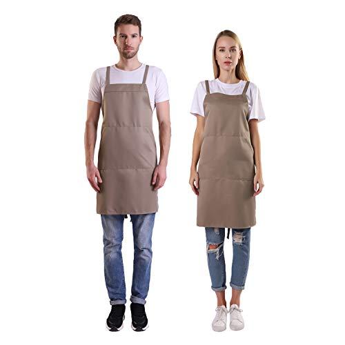 BIGHAS Shoulder Apron with Pocket for Women, Men, Chef Adjustable Large Size Long Straps Kitchen, Home, Restaurant, Cooking, Baking 12 Colors ()