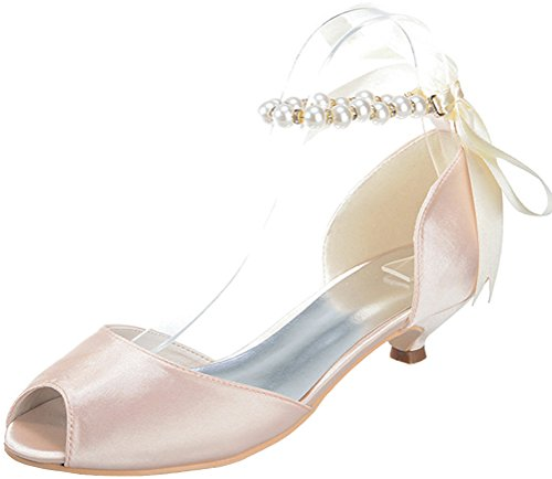 Bridesmaid Wedding Sandals Work Bride Ladies Fashion Ankle Prom Peep Toe Strap Comfort Pearl Party Heel Dress Smart Champagne Satin 0700 Kitten Salabobo 11 q46781qz