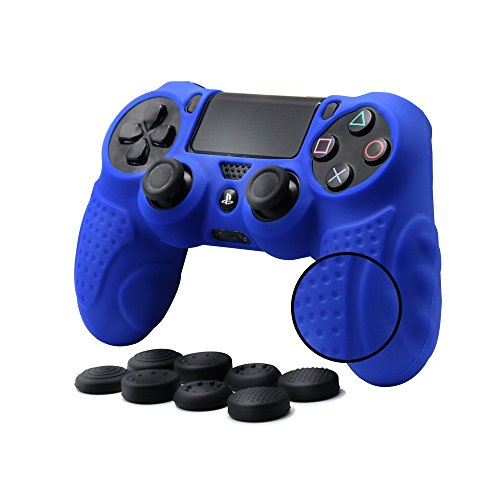 CHINFAI PS4 Controller DualShock 4 Skin Grip Anti-Slip Silicone Cover Protector Case for Sony PS4/PS4 Slim/PS4 Pro Controller with 8 Thumb Grips (Blue)