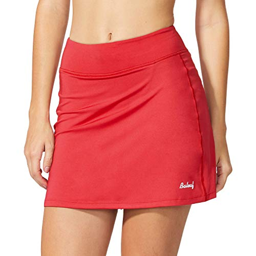 (Baleaf Women's Active Athletic Skort Lightweight Skirt with Pockets for Running Tennis Golf Workout Red Size XS)