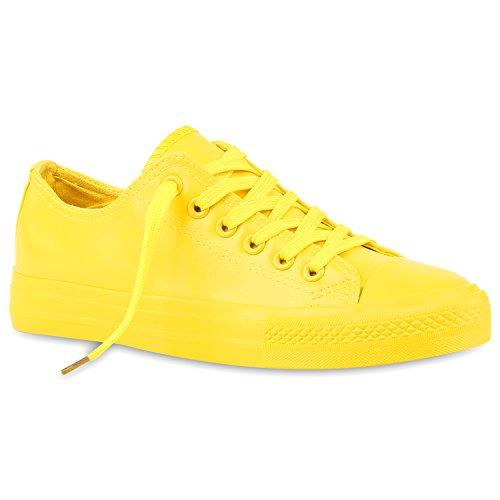 Stiefelparadies Damen Sneakers Spitze Sneaker Stoffschuhe Sportschuhe Basic Freizeit Schuhe Flandell Gelb Glatt