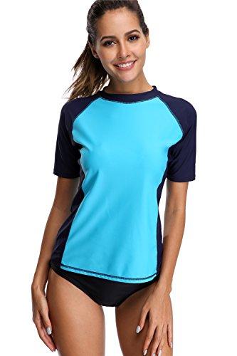 f87f49c545c13 maysoul Women Short Sleeve Rash Guard Floral Swim Shirts Swimsuit Tops