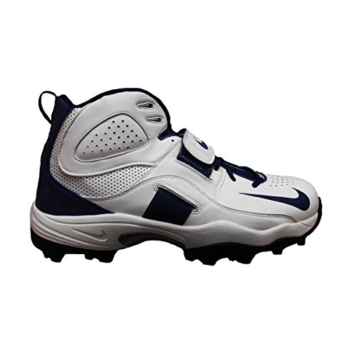 Nike Air Boss Pro Shark Men's Wide Molded Football Cleats (13.5, White/Navy) (Cam Newton Cleats White)