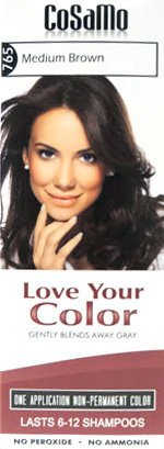 CoSaMo Love Your Color, No Ammonia, No Peroxide Hair Color, #765 Medium Brown (Pack of 3) Comparable to Loving Care