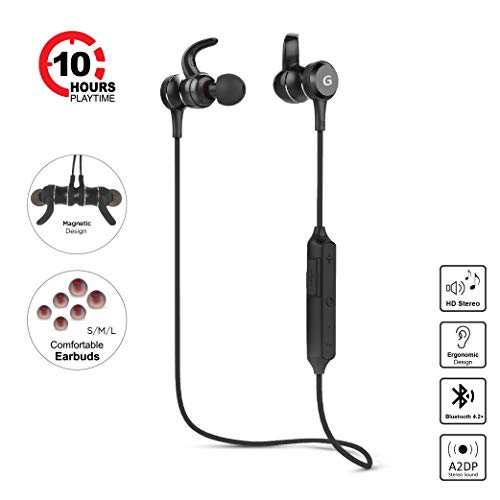 (Bluetooth Headphones Gigastone Best Wireless Earphones HD Stereo 10 Hour Playtime Noise Cancelling Headsets with Mic Sweatproof Magnetic in Ear 3 Size Earbuds Compatible with Apple iPhone and More)
