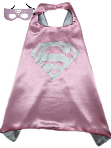 Superhero or Princess CAPE Adult Teen Size, Mens Womens Halloween Costume Cloak (S (35 inches), Pink & Silver (Super (Supergirl Halloween)