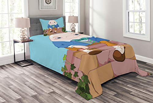 Lunarable Alice in Wonderland Bedspread Set Twin Size, Egg Humpty Dumpty Sitting on Brickwork Wall in Colorful Cartoon Style, Decorative Quilted 2 Piece Coverlet Set Pillow Sham, Multicolor ()