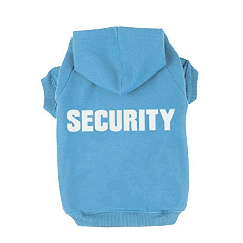bluee XL bluee XL BINGPET BA1002-1 Security Patterns Printed Puppy Pet Hoodie Dog Clothes bluee XL