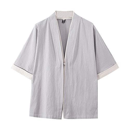 (AOJIAN Men T Shirts Half Sleeve T-Shirt Retro Pure Colour Tee Shirts Tunic Blouses Vest Tank Tops Gray)