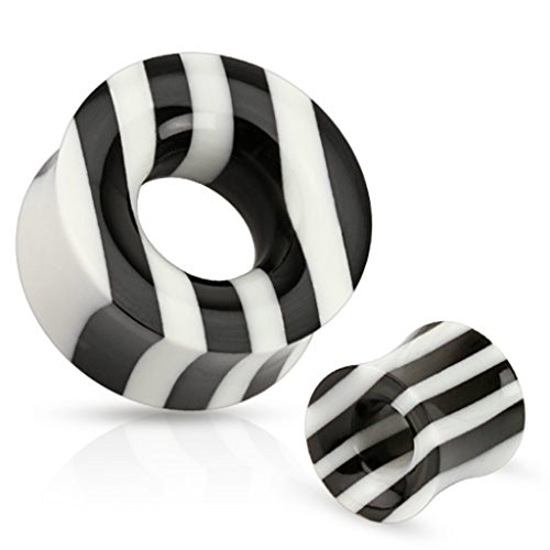 (Pair Black And White Striped Organic Horn And Bone Saddle Fit Tunnels)
