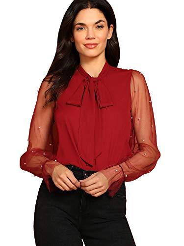 WDIRARA Women's Tie Neck Pearl Beading Contrast Mesh Long Sleeve Blouse Top Burgundy S