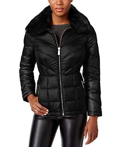 Kenneth Cole Womens Faux-Fur-Collar Down Puffer Coat Black S ()