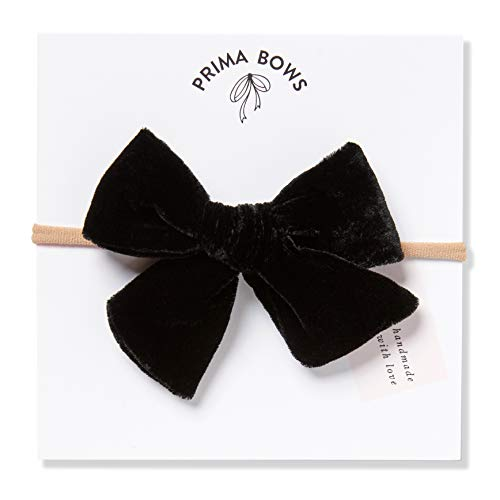Handmade Black Velvet Fabric Bows For Girls, For Newborns Through Toddlers (1 Size Fits All) - Prima Bows (Black, Nylon Headband) (Black Headband Nylon)