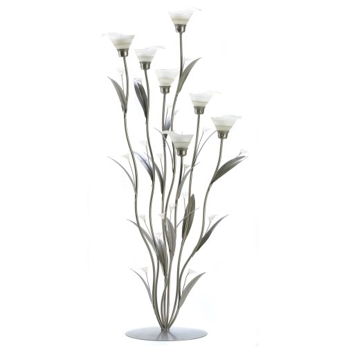 Lily Calla Candle Stunning - Gifts & Decor Silver Calla Lily Bunch Tealight Candle Holder Art Deco
