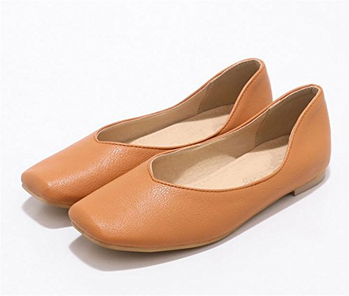 Flats Fashion Slip Shoes Dress Ballet On Women's Brown Oqp55f
