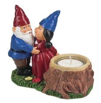 Gnome Couple Tea Light Candle Holder gnomes merchandise