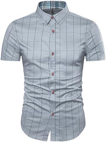 aiyino Hombre Tiempo Libre Camisa Cuadros Impresión Contraste 100% algodón Tracht Camisa
