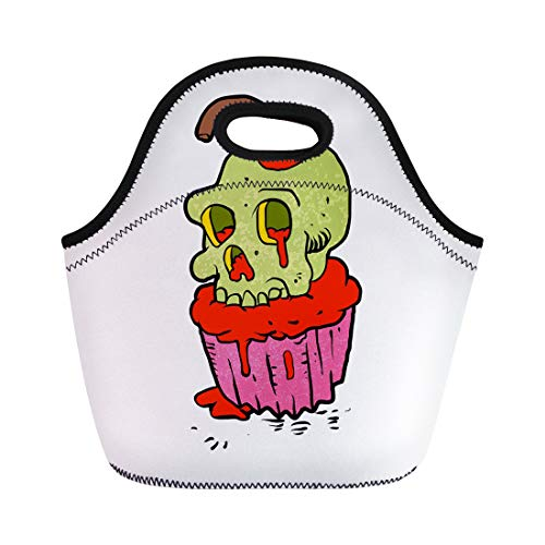 (Semtomn Neoprene Lunch Tote Bag Candy Spooky Skull Cupcake Cartoon Bubble Cake Character Cheerful Reusable Cooler Bags Insulated Thermal Picnic Handbag for Travel,School,Outdoors,)