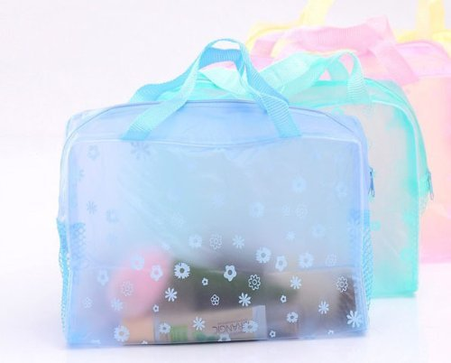 Jdbuy Multipurpose Floral Crystal Comestic Makeup Beauty Storage Travelling Bath Bag (Blue)