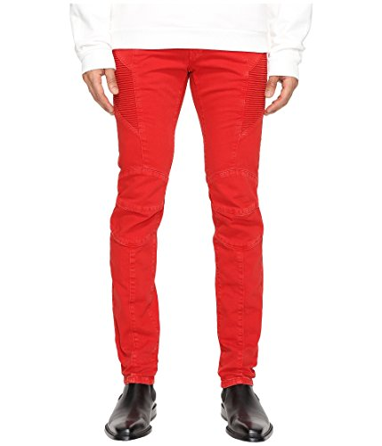 Pierre Balmain Men's Moto Jeans Red Vintage - Balmain Sale Men