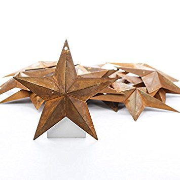 (Package of 20 Rusted Tin Dimensional Miniature Barn Stars with Hole and Hollow Backs)