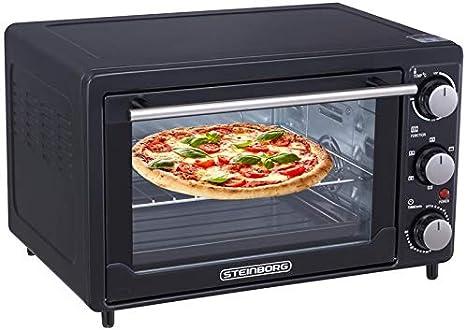 Mini horno de 25 litros 3 en 1 para pizza, horno con recirculación, regulación de la temperatura, 100 – 250 °C, bandeja de migas extraíble, ...