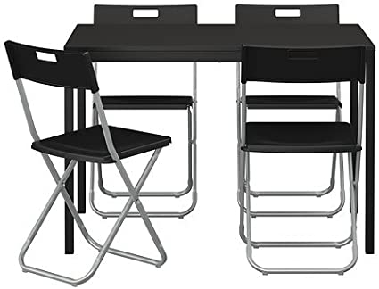 Ikea TARENDO/GUNDE - Mesa y 4 sillas, negro - 110 cm: Amazon ...
