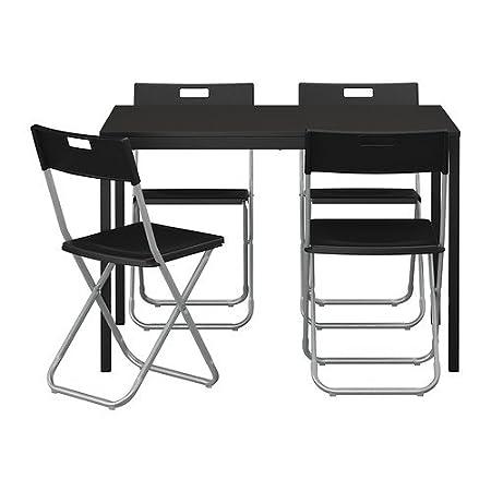 Ikea TARENDO/GUNDE – Mesa y 4 sillas, Negro – 110 cm: Amazon.es: Hogar