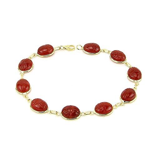 14K Yellow Gold Handmade Scarab Bracelet With Carnelian Gemstones