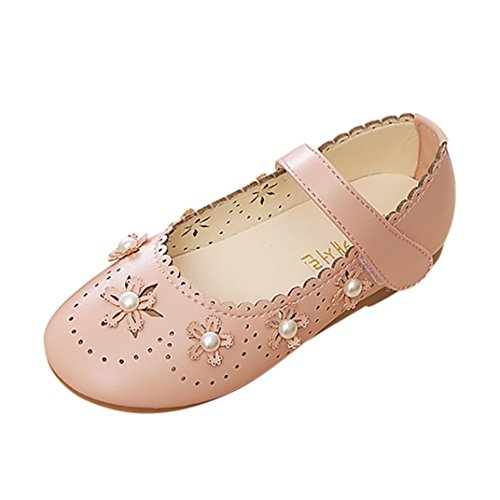 (Voberry Girls Hollow Out Flower Pearl Princess Casual Shoes PU Leather Mary Jane Flat Sandals (8.5-9T, Pink))