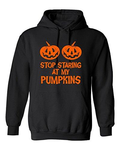 (Stop Staring My Pumpkins Costume Funny Hoodie Halloween XL Black)